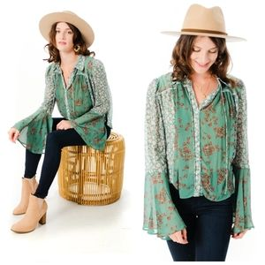 Free People Emerald Serene floral button down top